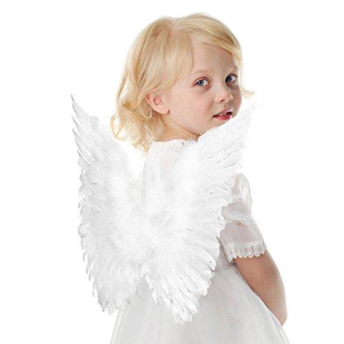 Engelsflügel Kostüm aus Federn Engel Flügel für Halloween Karneval Cosplay Fasching (Kinder, (Kinder Engel Kostüme)