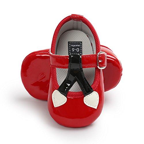 MiyaSudy 0-18 Monate Kleinkind Baby Mädchen Kirsche Pailletten Prinzessin Lauflernschuhe Rot