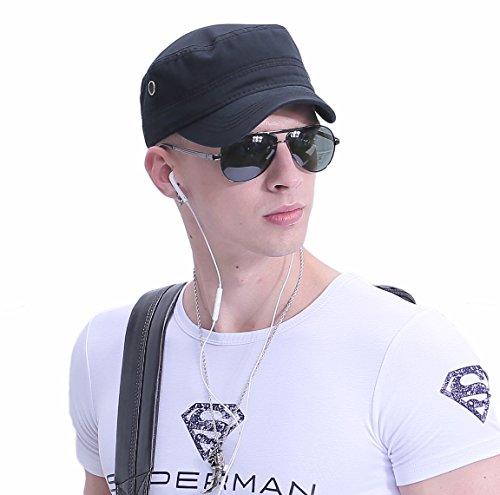 CACUSS Herren Baumwolle Army Kappe Cadet Hat Military Flat Top Verstellbare Baseballmütze einheitsgröße p0065_Schwarz - Männer Top Hüte