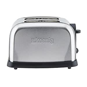 h koenig tos7 grille pain toaster 2 tranches inox 850 w cuisine maison. Black Bedroom Furniture Sets. Home Design Ideas