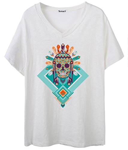 So'each Women's Indian Skull Painting Graphic V-Neck Tee T-shirt Ladies Casual Top Weiß
