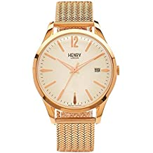 Henry London Unisex Richmond Quartz Watch with White Dial Analogue Display and Rose Gold Stainless Steel Bracelet (Refurbished)