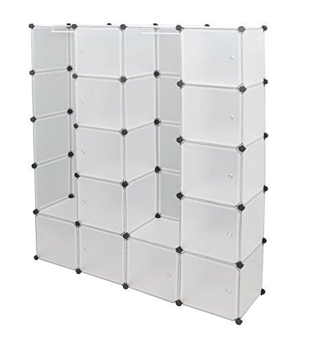 ts-ideen Kleiderschrank Garderoben Flur Schrank Badschrank Wäscheschrank Weiß Hoch Regal 150 x 187 cm mit 12 Fächern und 2 Kleiderstangen
