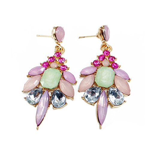 Babysbreath Crystal Hanging Drop Dangle Earrings for Women Antique Pendant Wedding Banquet Pink