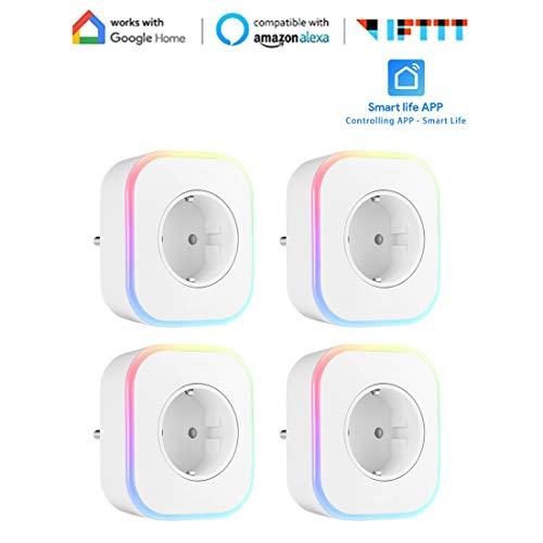 WiFi Smart Plug Mini Smart Outlet Arbeit mit Alexa Oder Google Home Nachtlicht Wireless Smart Socket Timer Funktion Gerätefreigabe App Fernbedienung von überall VHFIStj -