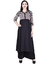 Gaurangi Women's Designer Printed Shirt Collar Long Kurti Kurta Tunic