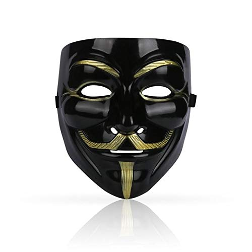 Vendetta For V Adult Kostüm Sexy - WSJDE 1 STÜCKE Partei Masken V Wie Vendetta Maske Anonym Guy Fawkes Kostüm Zubehör Party Cosplay Masken BSchwarz