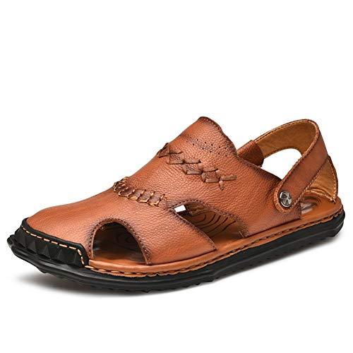 Vaxiuja-shoes Sandali Piatti Traspiranti Sandali da Esterno Traspirante Estate Stivaletti da Spiaggia in Vera Pelle Antiscivolo Scarpe da Uomo (Color : Marrone, Dimensione : 44 EU)