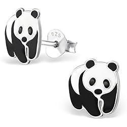 Oso Panda Stud Pendientes–plata de ley 925–tamaño: 8mm x 9mm–caja de regalo libre–la rosa y plateado compañía–rs0302