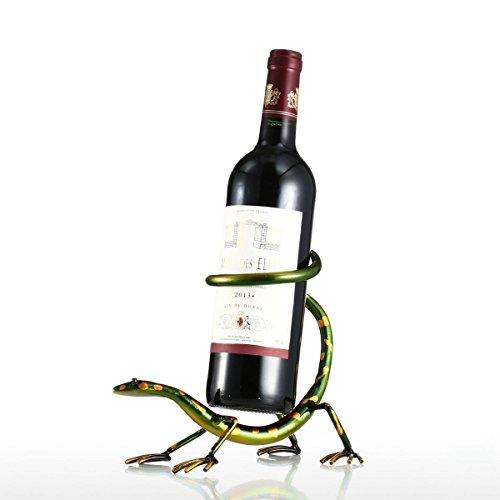 Tooarts Weinflaschenhalter Getränkeflaschehalter Moderne Kunst Skulptur Deko Objekt Statue Dekoartikel aus Eisen Kunstliche Gecko Weinregal 13cmx10cmx31cm Braun