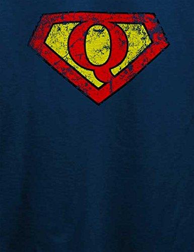 Q Buchstabe Logo Vintage T-Shirt Navy Blau