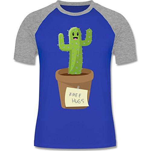 Statement Shirts - Free Hugs - S - Royalblau/Grau Meliert - L140 - Herren Baseball Shirt (Hugs Herren Free Baseball)