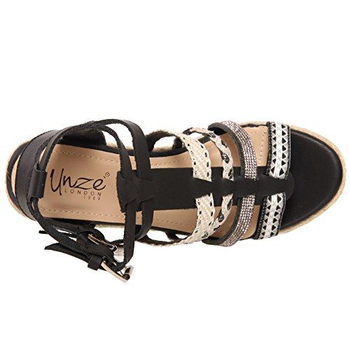 """Unze Les femmes """"EIRWYN"""" partie de coin soiree carnival le dîner rencontre sandal UK size 3-8 Noir"""