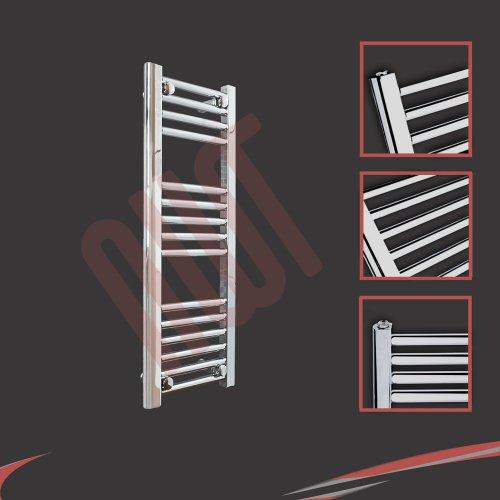 Straight Chrome Ladder Rails 300mm(w) x 800mm(h) Straight Chrome Heated Towel Rail, Radiator, Warmer 895 BTUs Bathroom Central Heating Ladder Rail