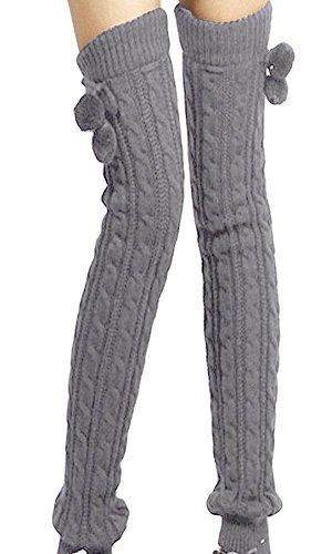 Winter Dick Stulpen Strick Crochet Stiefel lang Socken gestrickt Wolle Knie Oberschenkel hohe Socken Strümpfe Leggings für Frauen und Mädchen mit Wolle Bälle Best Xmas Geschenk grau (Socken Knie Hohe Stiefel Für)