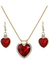 e9eb5bd97d40 Beuya Mujer Aretes Pendientes y Collar Colgantes Moda Colgante de Cristal  de circón corazón Set de Joyería…