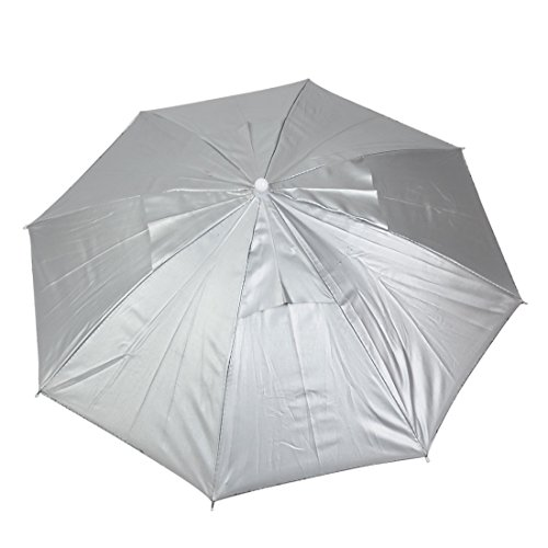 Gefaltete Polyester (sourcingmap® Polyester Angeln verstellbare Gruppe Gefaltet Regen Sonne Regenschirm Mütze grau blau)