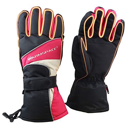 LBAFS Elektrische Beheizte Handschuhe, Winter Im Freien Warme Ski USB-Heizung Wiederaufladbar Mit Akku-Thermo-Handschuhen,Red-M -