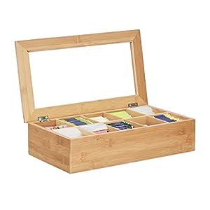 Relaxdays 10022182 Boîte à Thé en Bambou 10 Compartiments Grand Stable Polyvalent Fonctionnel Durable Garde Arômes Vitre, Nature