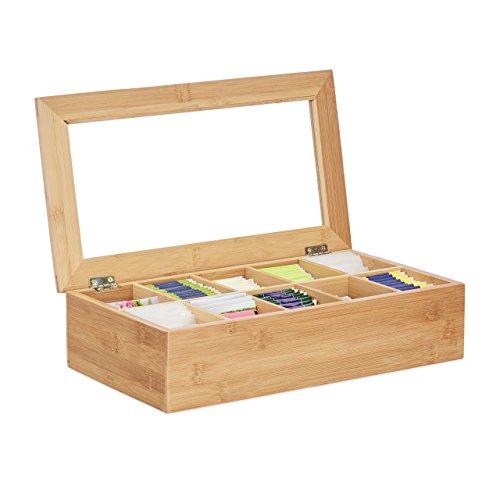 Relaxdays Teebox, Bambus, 10 Fächer, groß, stabil, vielseitig, funktional, nachhaltig, Aromaschutz, Sichtfenster, natur (Klappbarer Holz-box)