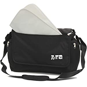Zeta Luxury Changing Bag Complete with Changing Mat (Large, Black) from Zeta