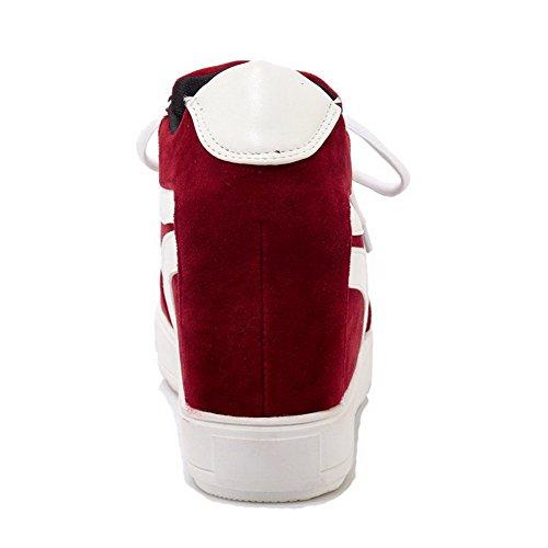 AgooLar Femme Matière Souple Lacet Rond à Talon Haut Couleurs Mélangées Chaussures Légeres Rouge