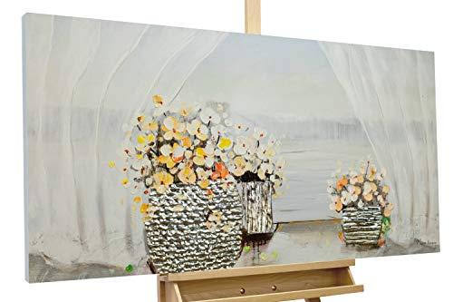 Kunstloft® Cuadro en acrílico 'El Despertar de la Primavera' 120x60cm | Original Pintura XXL sobre Lienzo | Ramo Flores Primavera Amarillo Blanco | Cuadro acrílico de Arte Moderno con Marco
