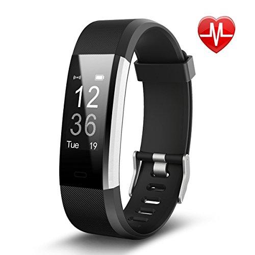 Fitness Tracker, Tigerhu 115 Plus HR Smart Armband Smart Armbanduhr Schrittzähler Armband mit Herz Rate Monitor/Sleep Monitor/Kalorienzähler/CALL Benachrichtigung Push, Tragbar für Android und IOS Smartphones.