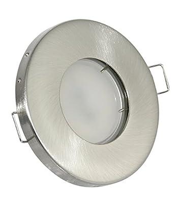 230V Bad Einbaustrahler Aqua IP54 edelstahl gebürstet + GU10 Halogenleuchtmittel in 35Watt dimmbar (für Nass / Feuchträume) über der Dusche, Wanne, Vordach von Kamilux - Lampenhans.de
