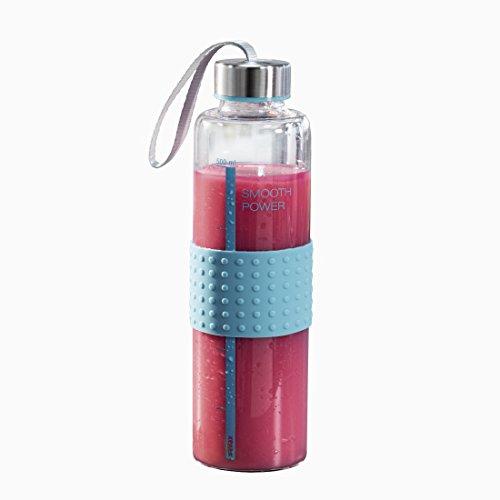 """Xavax Glas-Trinkflasche \""""Smooth Power\"""", 0,5l (Glasflasche aus Borosilikat, auslaufsicher, mit Schraubverschluss, Mengen-Markierung, Trageschlaufe; spülmaschinengeeignet) Glas Wasserflasche türkis"""