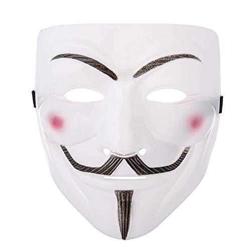 Kostüm Guy Tanz - Halloween Maske Weiß Erwachsene Guy Fawkes Maske Vollgesichtsmaske Maskerade Kostüm Karneval Maske Helm Prop Haube Maske