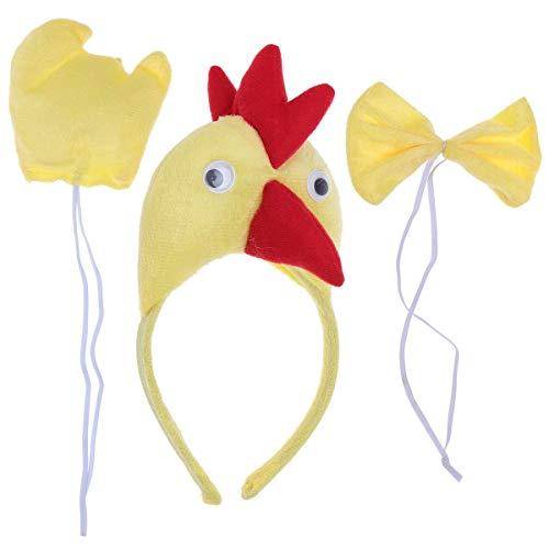 Lovelegis Gallo - Set Cerchietto - Coda - Papillon - Animali - Donna - Bambini - Costume Travestimento Carnevale Halloween Cosplay Accessori - Idea Regalo