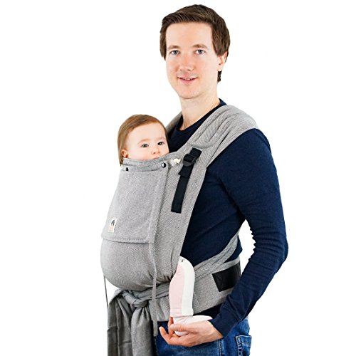 LIMAS Babytrage LIMAS Plus, ergonomische Bauchtrage und Rückentrage, mitwachsend, aus 100{2ec40c3057fa60f0a4f2831e93de7a29bb8ddbe930cc40ae3340c8082404f8b3} Bio-Baumwolle Tragetuch-Stoff – Stone