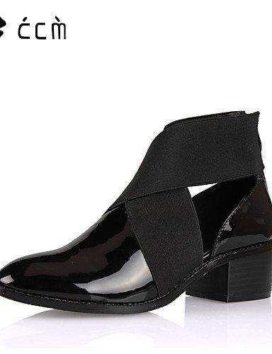 JHUIK xzz/Damen Schuhe Patent Leder Chunky Absatz Fashion Stiefel/Stiefelette/Bootie Stiefel Büro/Party & Abend/Casual Schwarz, black-us9.5-10/eu41/uk7.5-8/cn42 (Patent Leder-booties)