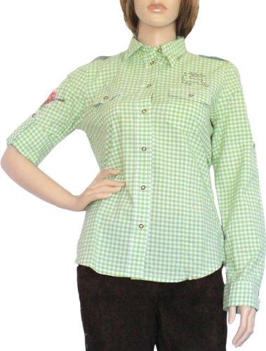 Trachtenbluse Damen Trachten lederhosen-bluse Trachtenmode Grün kariert, Größe:44