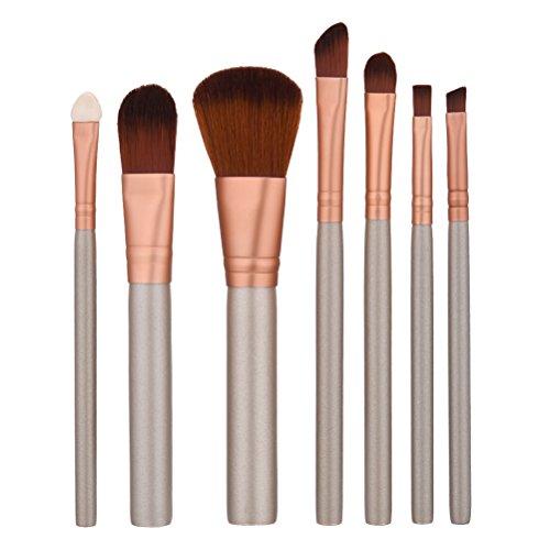 Frcolor Brosse Cosmétique 7 pièces Lot de brosse de maquillage professionnel visage Eyeliner Blush Contour Fond de teint Pinceaux cosmétiques pour liquide