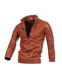 Pu Leather Jacket,mens Long Sleeve Coat Biker Coat Zipper Jacket For Men Deep Brown S