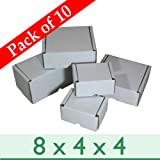 "Pack of 10 Small White Die-cut Postal Gift Cardboard Boxes ~ 8"" x 4"" x 4""/200mm x 100mm x 100mm"