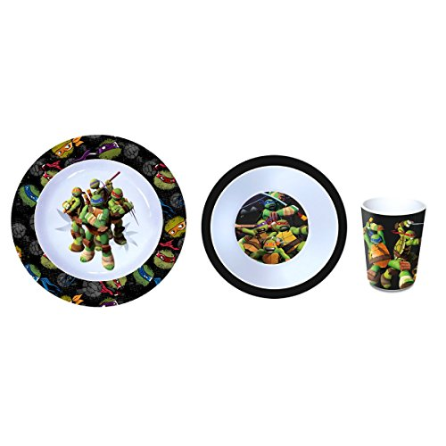 Teenage Mutant Ninja Turtles Kinderservice mit Teller, Müslischüssel und Trinkbecher aus ()
