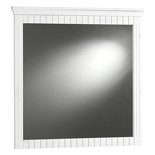 Wandspiegel Garderobenspiegel ALBORG in weiß mit massivem Kiefernholzrahmen, gefräste Zierleisten
