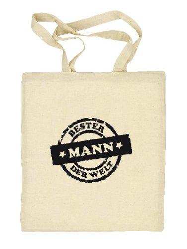 Shirtstreet24, Bester Mann der Welt Stempel, Valentinstag Natur Stoffbeutel Jute Tasche (ONE SIZE) Natur
