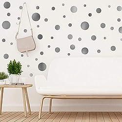 WALPLUS - Adhesivo Decorativo para Pared, diseño de Lunares, Color Plateado, 35 x 24 x 20 cm