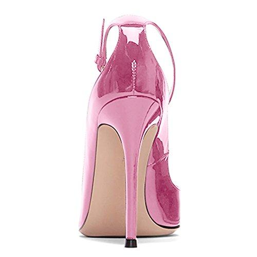 Damen Pumps Spitze Zehen High-Heels Stiletto Lackleder Knöchelriemchen Schnalle Pink
