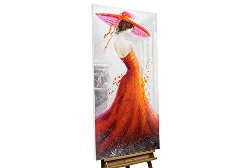 KunstLoft® Acryl Gemälde 'Miss Jones' 60x120cm   original handgemalte Leinwand Bilder XXL   Frau Kleid Rot Orange Eleganz   Wandbild Acrylbild moderne Kunst einteilig mit Rahmen (', Original Gemälde)