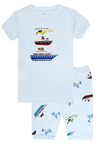 Zweiteiliger Kurzarm Schlafanzug Kinder Schiff - Design Pyjama Jungen Short (Görßen 2-10 Jahre) 6 Jahre - Kinder Mädchen Short Pj