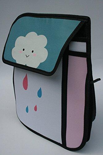 3D-Jump Style-Tasche, Schultasche mit Animation / Zeichentrick-Effekt, Umhängetasche Cartoon-Design (regen) regen