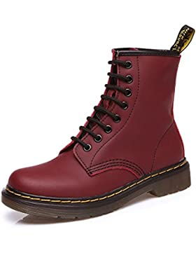 Modemoven Damen Stiefeletten Worker Boots Martin Boots Stiefel Leder Martens Chelsea Boots