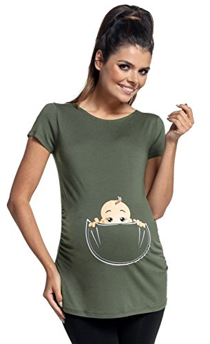 Zeta Ville - Shirt Camiseta Premamá estampado bebé asomándose para mujer - 501c (Caqui, EU 46/50, 3XL)