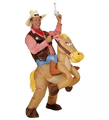 Reiter Kostüm Pferd - shoperama Aufblasbares Huckepack Kostüm Cowboy auf Pferd Reiter Herren Wilder Westen