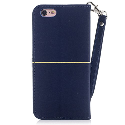 iPhone 6plus Hülle,Fodlon® Mode Gold Samt Pflaume Blühen Kopf Karte Schlitze mit Schlüsselband Telefon Schutzhülle -Marine Marine